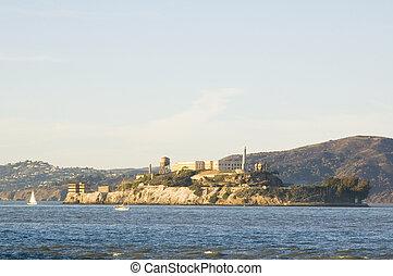 Alcatraz island at sunset