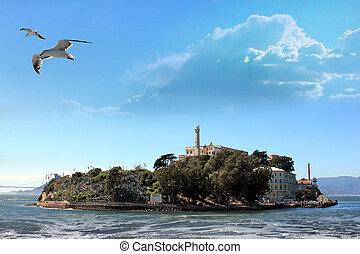 Alcatraz Island in the San Francisco Bay. Seagull flying, in...