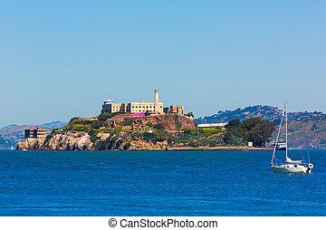 Alcatraz island penitentiary in San Francisco Bay California...