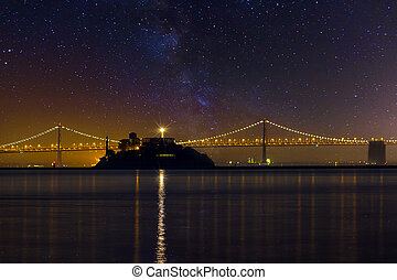 Alcatraz Island Under the Starry Night Sky