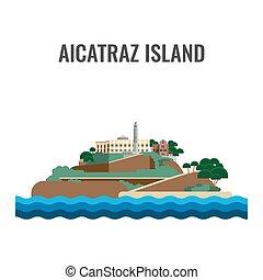 Alcatraz island view from the sea. Vector illustration.