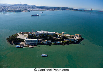Alcatraz jail in San Francisco bay aerial
