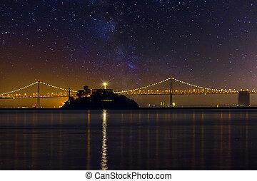 alcatraz, notte, isola, sotto, cielo, stellato