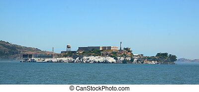 Alcatraz prison on a clear day on San Francisco Bay.