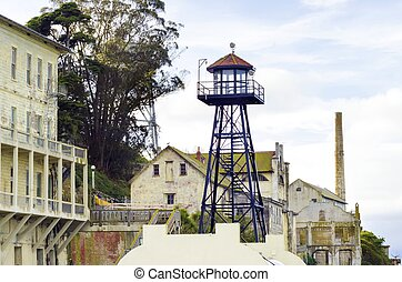 Alcatraz,  San, guardia,  California, torre,  Francisco