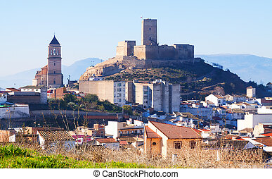 Alcaudete with castle and church. Province of Jaen, Spain