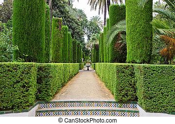 alcazar, dichters, tuin, seville