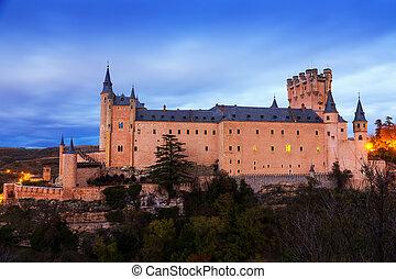 Alcazar of Segovia in november twilight. Spain
