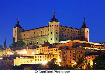 Alcazar of Toledo in night. Spain
