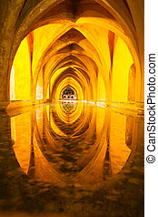 Alcazar queen bath, front view Seville, Andalusia, Spain
