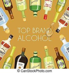 Alccohol banner wine list template for bar or restaurant menu design vector illustration. Creative artistic top brand background with vine bottle bar drink glass decoration.