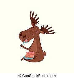 alce, alce, comida, colorido, plano, ramificado, grande, vector, diseño, bosque, delicioso, animal., salvaje, eurasiático, cake., horns., feliz