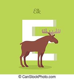 alce, alphabet., isolated., abc, letra e