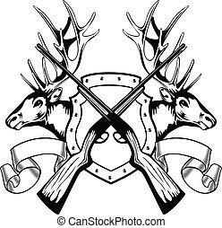 alce, cabezas, y, cruzado, rifle