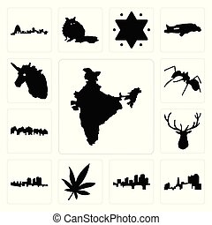 alce, dirigere insieme, formica, foglia, unicorno, marijuana, utah, india, haiti, icone, testa, arkansas, ohio