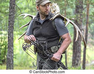 alce, el suyo, cazador, espalda, arco, mirar, lleva, bosque...