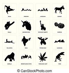 alce, set, gorilla, icone, foglia, rex, marijuana, oklahoma, t, statua, louisiana, koala, ninja, testa, libertà