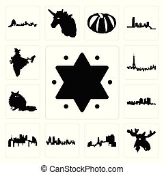 alce, set, stella, icone, pennsylvania, testa, india, londra, stato, parigi, davide, haiti, procione, orizzonte, ohio