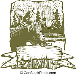 alces, desenho, woodcut