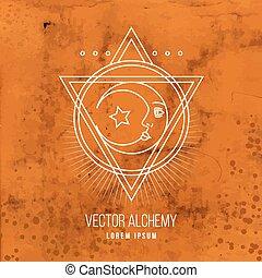 alchemia, symbol, wektor, geometryczny