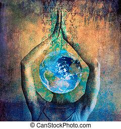 alchemical, 地球, signs., 女性, ilustration