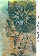 mixed medium image of an an anatomical man with a sun in his mind.