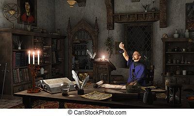 Alchemist in his Study - Alchemist working in his study...