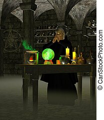 Alchemist or wizard in his laboratory in a stone cellar with experiments on a wooden table and magic symbol on the wall, 3d digitally rendered illustration