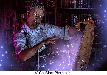 alchemist scientist - Crazy medieval scientist working in...