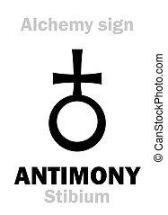 "Alchemy Alphabet: ANTIMONY (Stibium), one of mundane stuffs, ""metal of earth"", figur.: Free Spirit of human; eq.: mesdemet, antimoine, surma: 1) Antimony ore; 2) Regulus of Antimony (pure): formula=[St]."