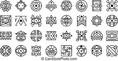 Alchemy icons set, outline style