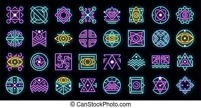 Alchemy icons set vector neon