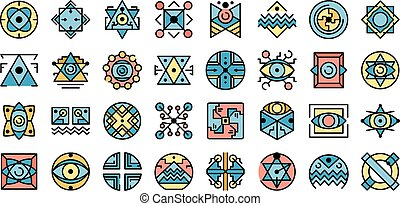 Alchemy icons vector flat