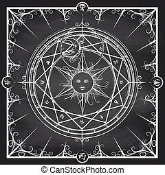 Alchemy magic circle on chalkboard background