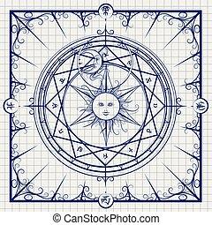 Alchemy magic circle on notebook background