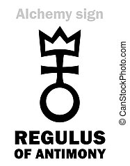 Alchemy Alphabet: REGULUS of ANTIMONY (Regulus Antimonii), Antimony regulus, Antimony metal -- pure metal (as opposed to impure ore): Chemical formula=[Sb]. Alchemical sign, Medieval symbol.