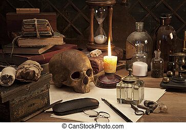 alchemy still life - Alchemy still life with skull and...