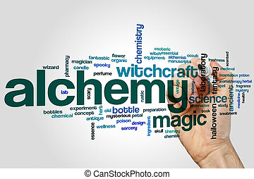 Alchemy word cloud concept on grey background