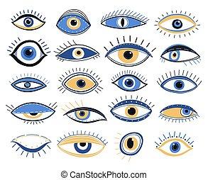 alchimia, dall'aspetto, occulto, eye., grafico, amuleto, ...