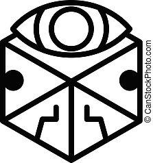 alchimie, pictogram, schets, kubus, stijl, oog