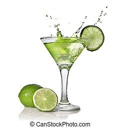 alchohol, cocktail, isolé, éclaboussure, blanc vert, chaux
