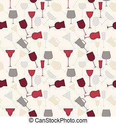 alcoólico, padrão, seamless, copo., retro, fundo