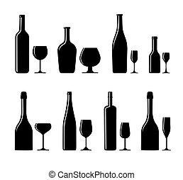 alcoólico, vidro, e, garrafa