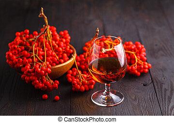 alco, 概念, アルコール, 色, ハンドメイド, ナナカマド, ガラス