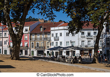 ALCOBACA, PORTUGAL - SEPTEMBER 23 2018: view on square in the center of city