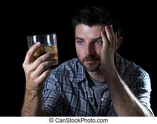 alcohólico, borracho, hombre, alcoholismo, adicto, concepto, vidrio, whisky