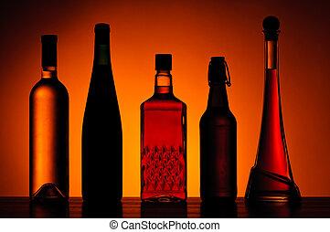 alcohólico, botellas, bebidas