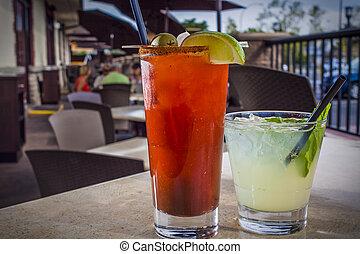alcohólico, cóctel, en, restaurante, ajuste