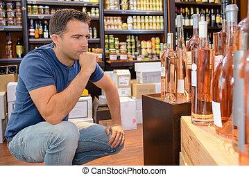 alcohólico, compra, bebidas