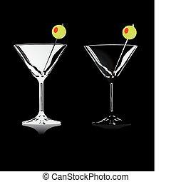 alcohólico, conjunto, bebidas, anteojos
